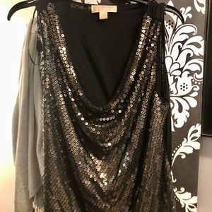 Black Michael Kors top, gold and silver sequins!